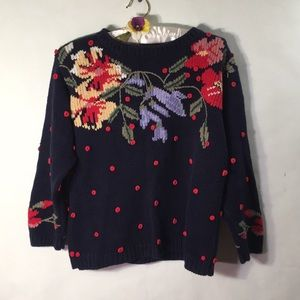 Vintage French Knot Embroidered Sweater Size P